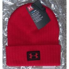 NEW! Youth Boys Under Armour Cuffed Winter Beanie Hat in RED