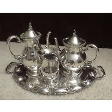 Elegant 3-Piece Sterling Silver Coffee and Tea Set with Tray.