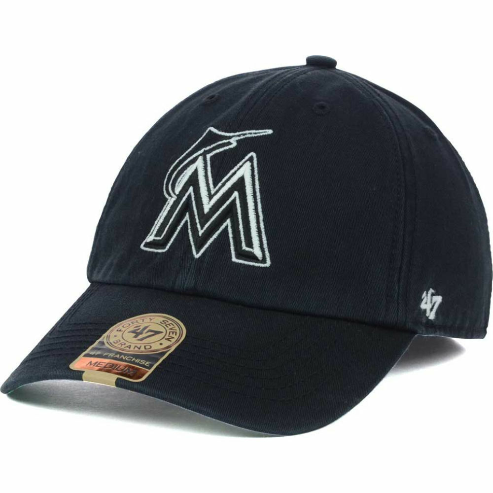 promo code 0a3c0 531ac Details about Miami Marlins  47 Brand MLB Black Out Franchise Fitted Cap  Hat Baseball Men s M