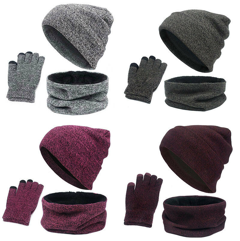 Autumn and Winter Men and Women Warm Solid Wool Hat Scarf Gloves Three-piece 3ee270fbda7
