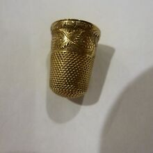ANTIQUE THIMBLE SIZE 6 10K SOLID YELLOW GOLD FLORAL