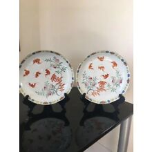 Gorgeous Pair of Antique 19th Century Qing Dynasty Chinese Porcelain Plates