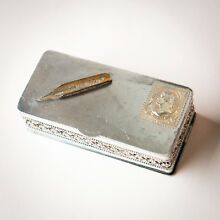 Antique Silver Plated Stamp Box w/ Engraved Stamp & Pen Nib, Wilcox S.P. Co.