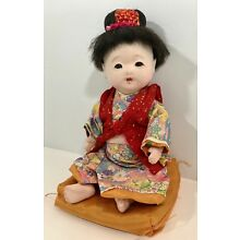 """Japanese Ichimatsu Geisha Girl 11"""" String Jointed Composition Doll with Pillow"""