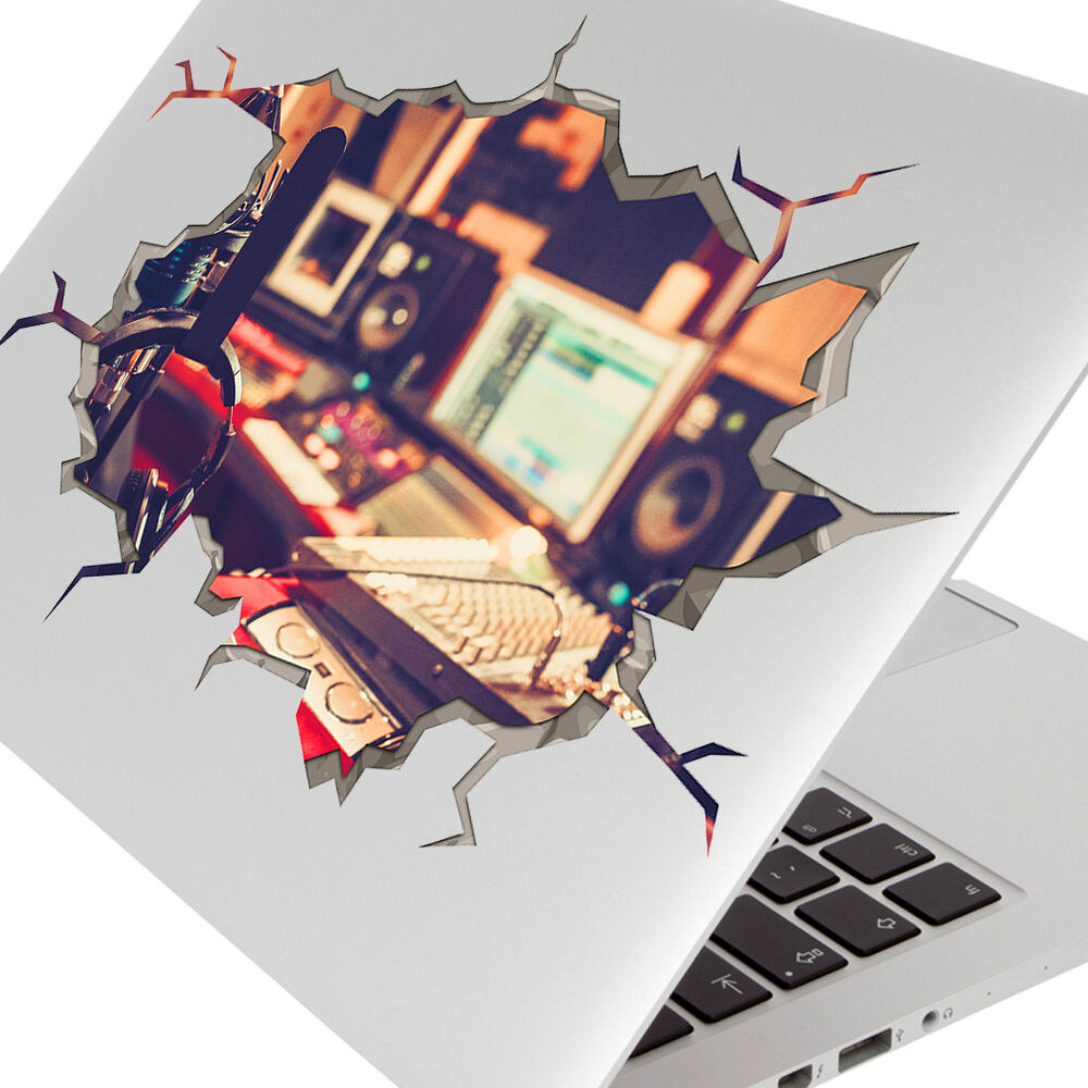 Details about laptop stickers music studio dj microphone smashed decal 3d art hole room s186