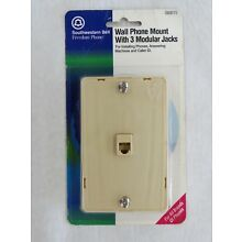 Southwestern Bell Wall Phone Mounting Plate 2 Extra Side Jacks  # S60015
