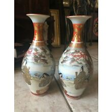 ANTIQUE MEIJI PERIOD JAPANESE SATSUMA MATCHED VASES- SIGNED- EXCELLENT CONDITION