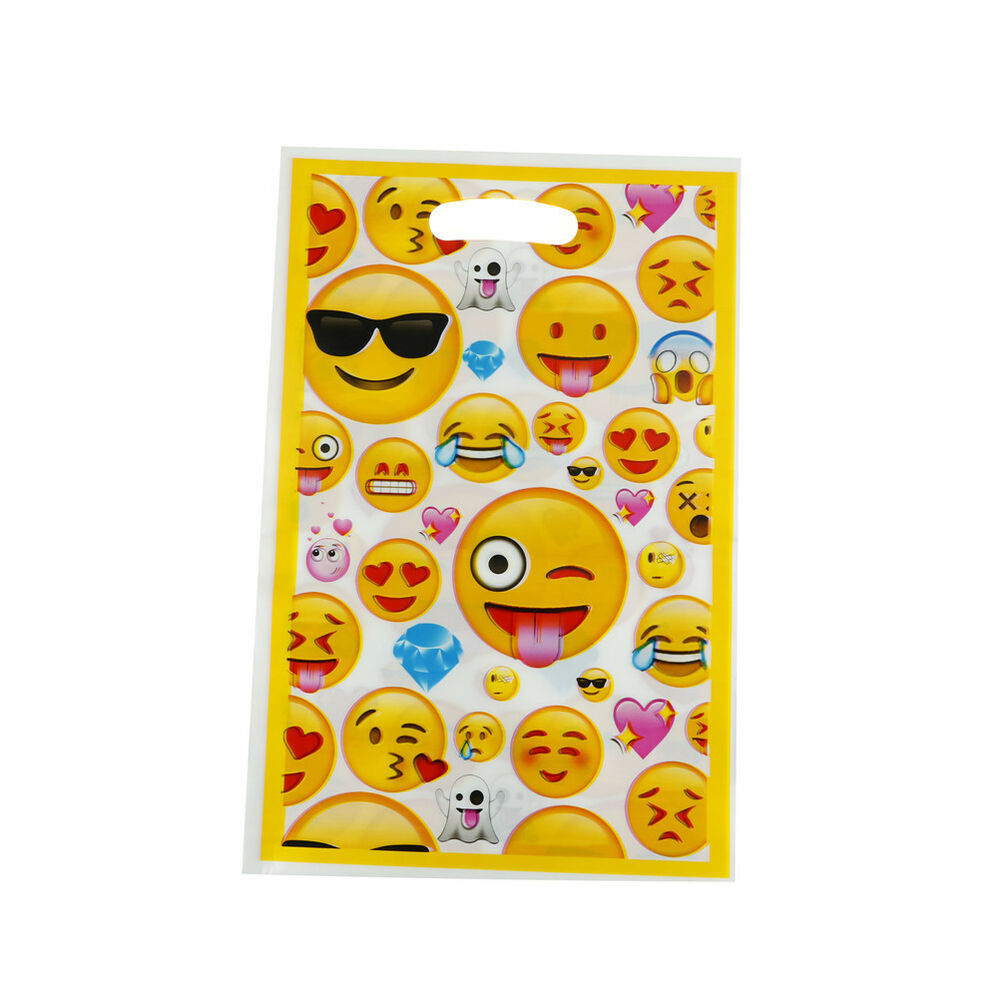 Details About 10pcs Emoji Theme Party Gift Bags Candy Bag Loot For Kids Birthday Decor US