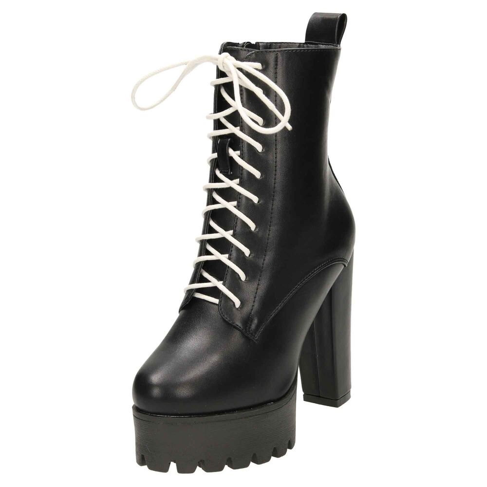 85d9ed4368b5 Details about Black High Heel Platform White Laced Up Ankle Boots Chunky  Gothic Combat Zip