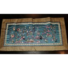 Chinese Vintage '100 Children' Panel, Hand Embroidered On Silk, 26 x 13 inches