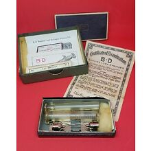 Rare antique hypodermic needles glass syringe Corpus Luteum box w certificate
