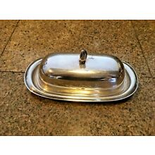 Vintage  Silverplated Covered Dogwood  Butter Dish w/Lid & Porcelain