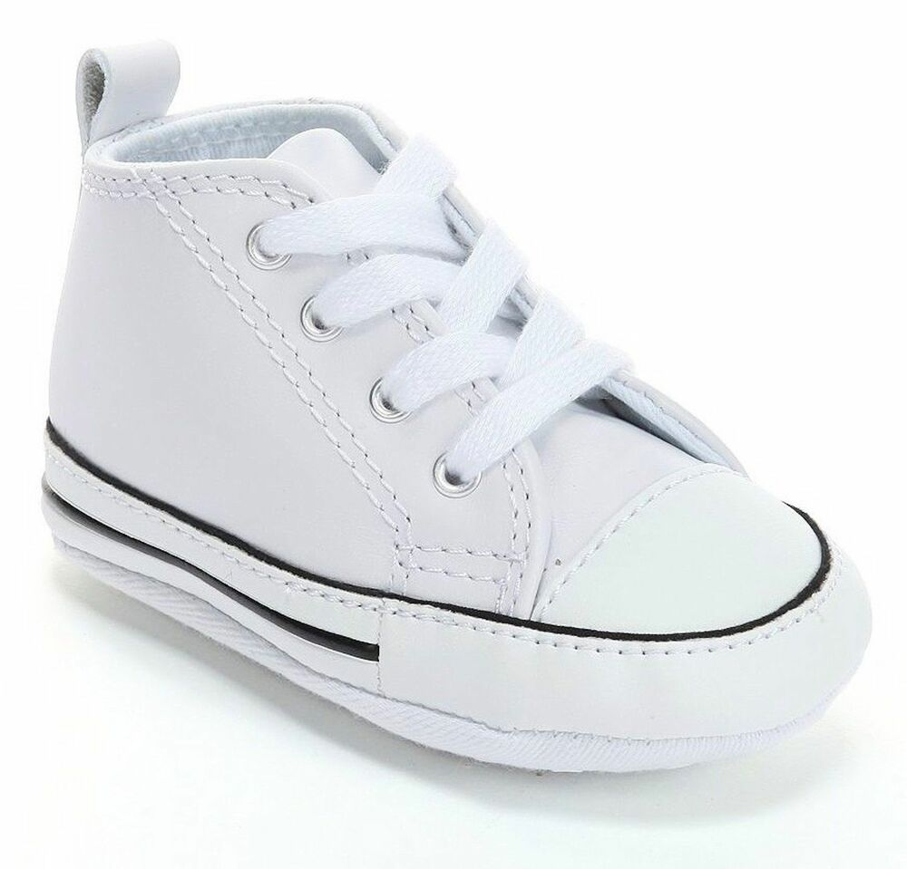 61e8b7397995 Converse New Born Crib Booties Boys White Leather First All Star Baby Shoes