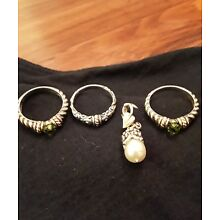 Sterling 925 Jewerly Lot 14kt 18kt Rings, Charm