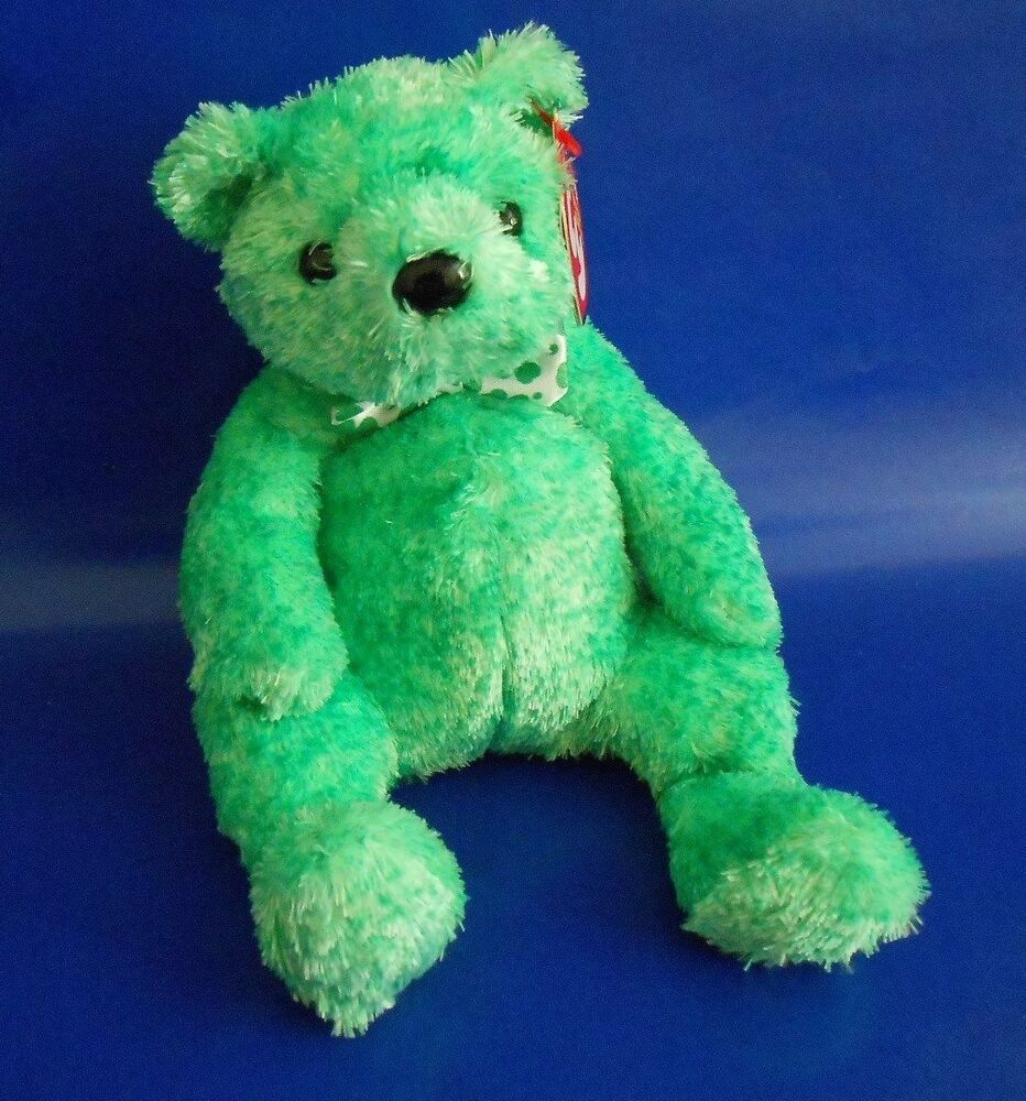 Details about LUCK-E TY BEANIE BABY GREEN BEAR 7.5