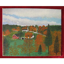 Folk Art painting : New England Village in Fall Colors   /  c.1945