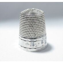 VINTAGE SIMONS STERLING SILVER SZ 10 PANELED THIMBLE NO HOLES