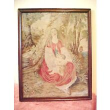 1800s Antique Scottish Tapestry Woman Child Victorian Medieval PROVENANCE Framed