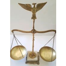 Vintage Balance Eagle Brass Marble Weight Scale