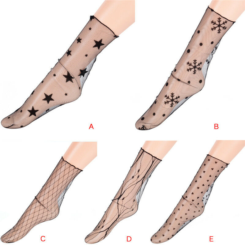 df0b5e37af7 Details about Women Glitter Star Soft Mesh Socks Transparent Elastic Sheer  Ankle sock PRBR