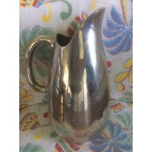 """VINTAGE DesignCo Silver Plate Water Heavy pitcher 10"""" Tall Unpolished Patina"""