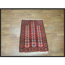 Pleasing Red 2x4 Turkoman Persian Oriental Area Rug 3' 9
