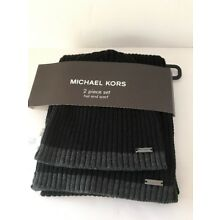 Michael Kors Men's Hat & Scarf 2 PC Gift Set Black Cable Knit Gray Trim NWT $90