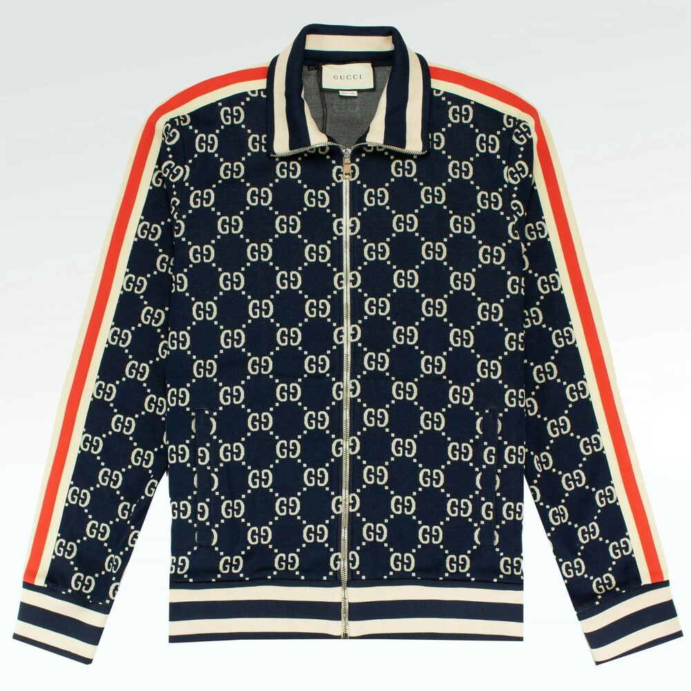 199762742 Details about 100% AUTHENTIC BRAND NEW MENS Gucci GG Jacquard Track Jacket  Blue RARE!