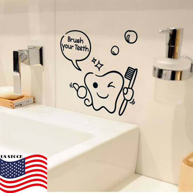 5pc removable wall decal sticker decor teeth tooth brush bathroom