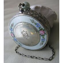 Antique Engraved Silver White Guilloche Pink Floral Enamel Dance Compact HAP