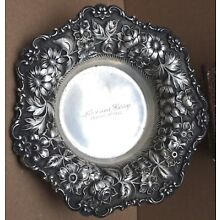 """STIEFF 99A REPOUSSE STERLING CANDY DISH BOWL 8.2 T.O. 7 ¼ """" DIAMETER"""
