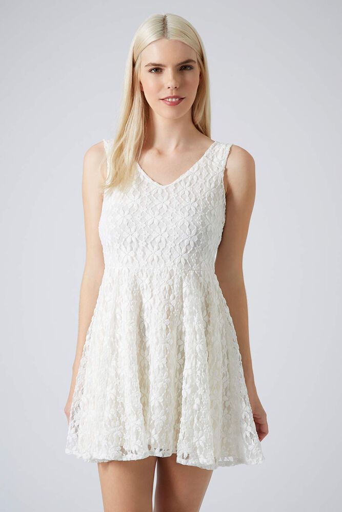 Details about Topshop White Lace Daisy Skater Dress Size 8 - Brand New RRP  £36 3963fef66