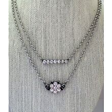 Crystal Bar And Flower Necklace With Swarovski Crystal Antique Silver Plated