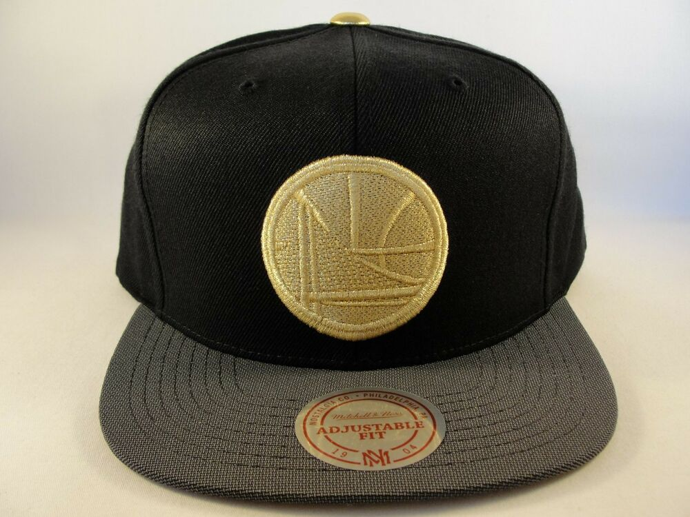 c0d3393c2b7f0 Details about Golden State Warriors NBA Mitchell   Ness Gold Tip Snapback  Hat Cap