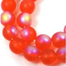 50 Czech Frosted Sea Glass Round Beads - Matte AB Hyacinth orange moonstone 6mm