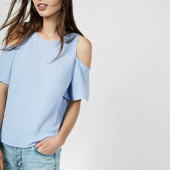 7bf31ddbbf3 Details about EXPRESS Small BABY BLUE COLD SHOULDER FLUTTER SLEEVE BLOUSE  shirt top (S 4-6)