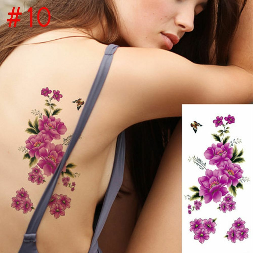 5711abfad Details about 1PC New Fashion Removable 3D Purple Flowers Waterproof  Temporary Tattoo Pretty