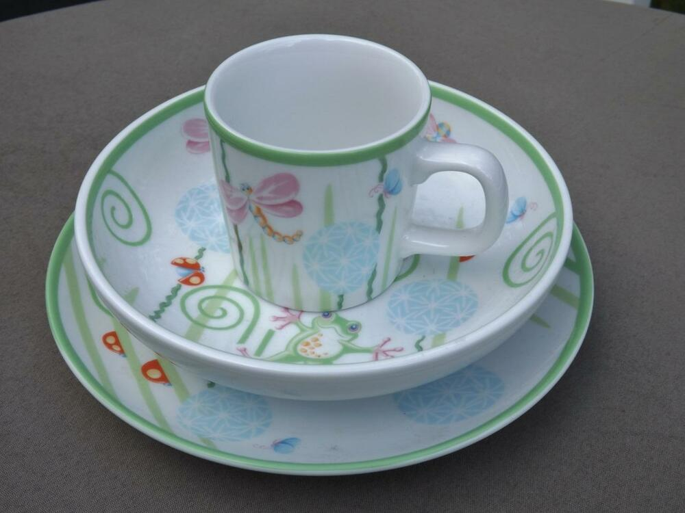 Fiddleheads 3 Piece Childrens Childs Baby China Set Bowl Plate Cup