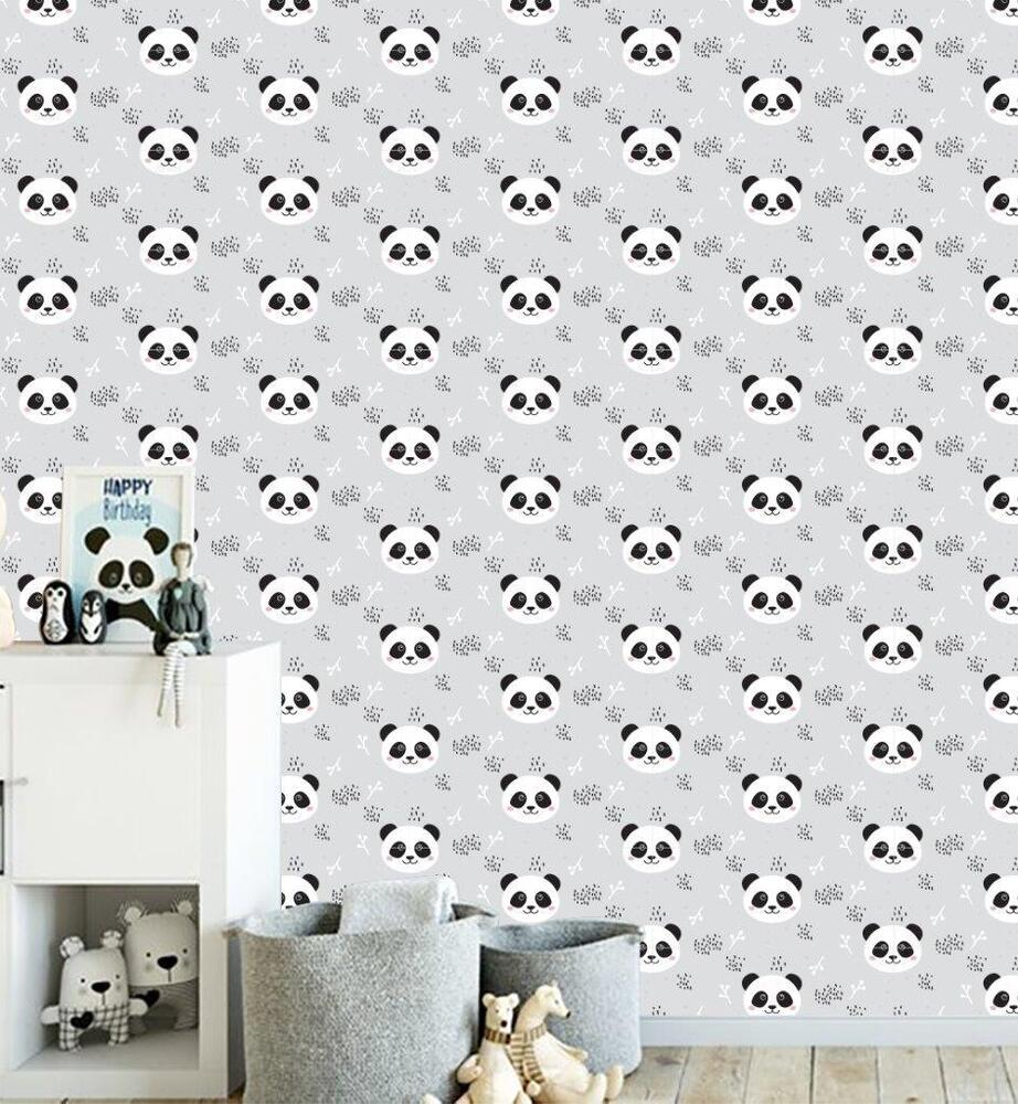 Details about PANDA Cartoon Pattern Wallpaper Wall Mural Woven Self-Adhesive Nursery Kids T71