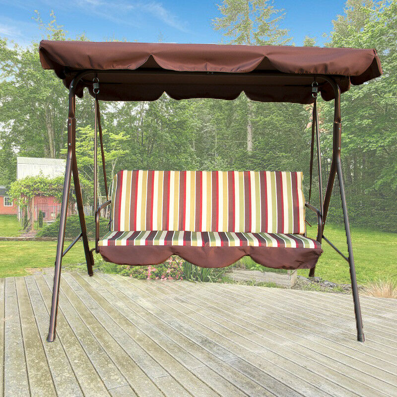 Details About Outdoor 3 Person Canopy Swing Chair Patio Backyard Awning Yard Porch Furniture