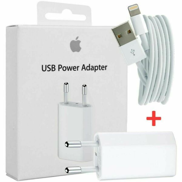 SPINA ADATTATORE CARICATORE ORIGINALE PER APPLE IPHONE 6 7 8 X MD813 + CAVO USB