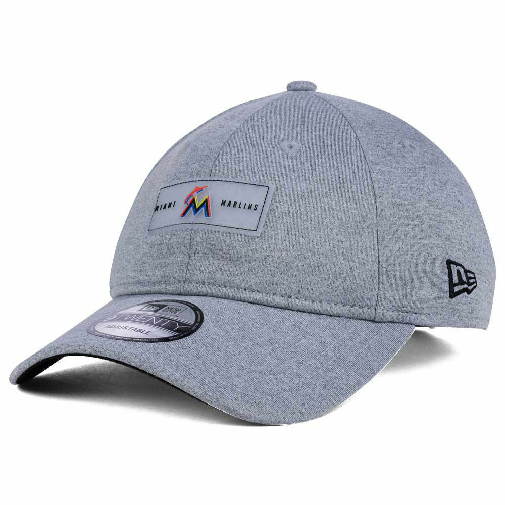 finest selection 07abd 3d7a2 Details about Miami Marlins New Era MLB Clear Logo Patch 920 Adjustable  Strapback Cap Hat Gray