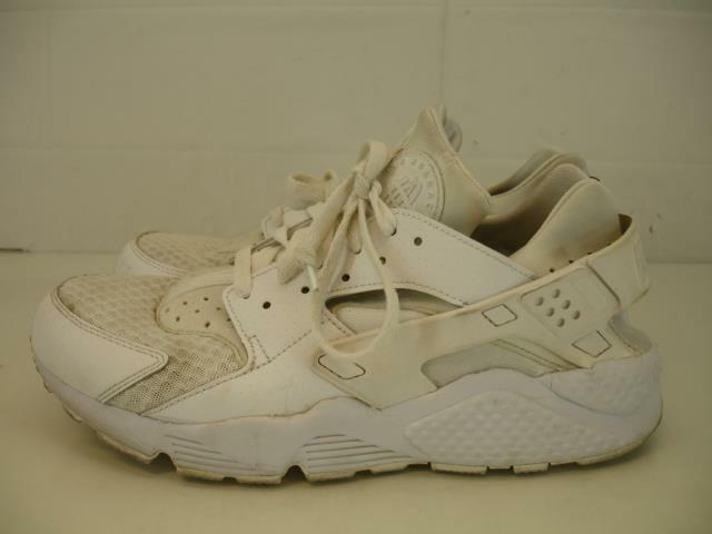official photos 6b4a1 3eb59 Details about Mens sz 10 Nike Air Huarache Run Triple All White Pure  Platinum 318429-111 Shoes