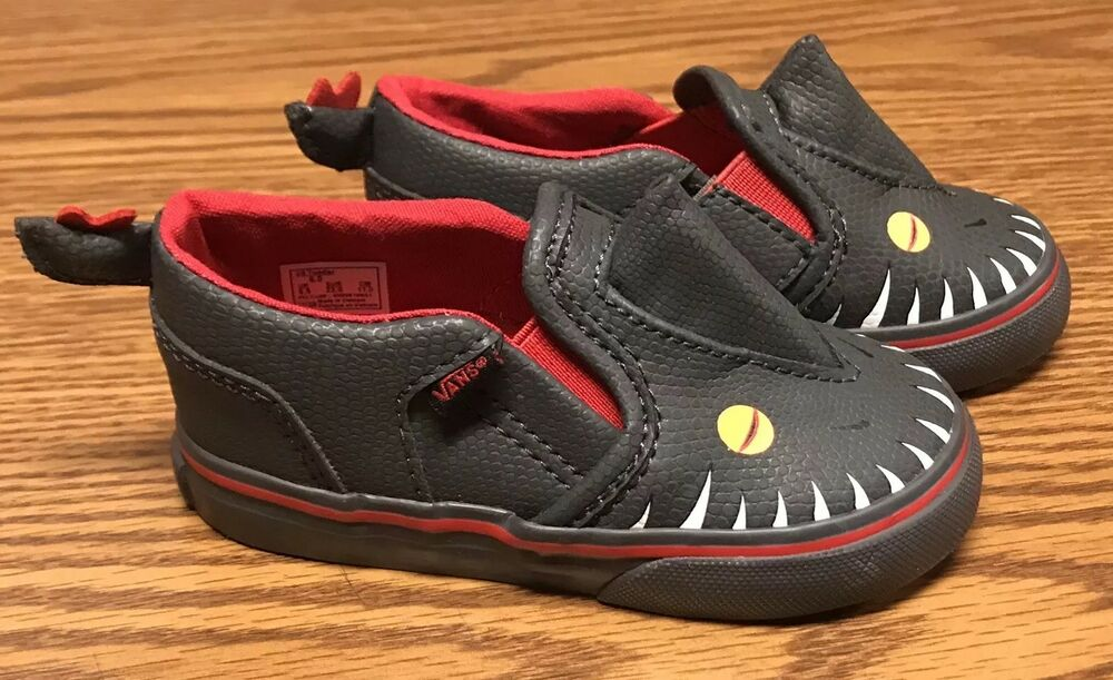 6507a306f1c Details about Vans Asher V Vansosaur Dinosaur Red Black White Toddler Slip  On Shoes Sz 4 6 NEW