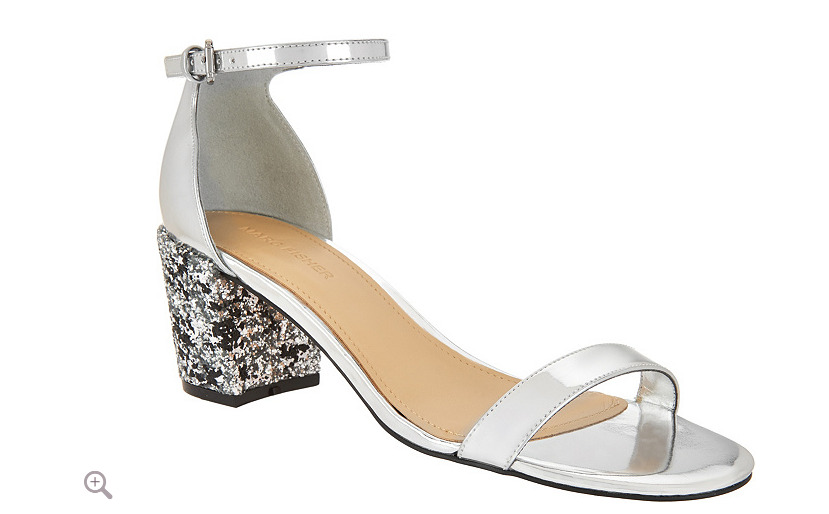 ca978094959d Details about Marc Fisher Glitter and Patent Block Heel Sandals - Safia  Silver 6 Womens New