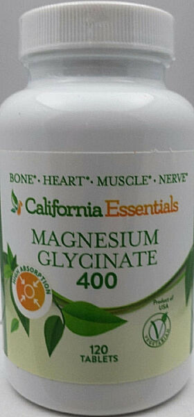 MAGNESIUM GLYCINATE 400-BONE-HEART-MUSCLE-NERVE HEALTH-FREE SHIPPING