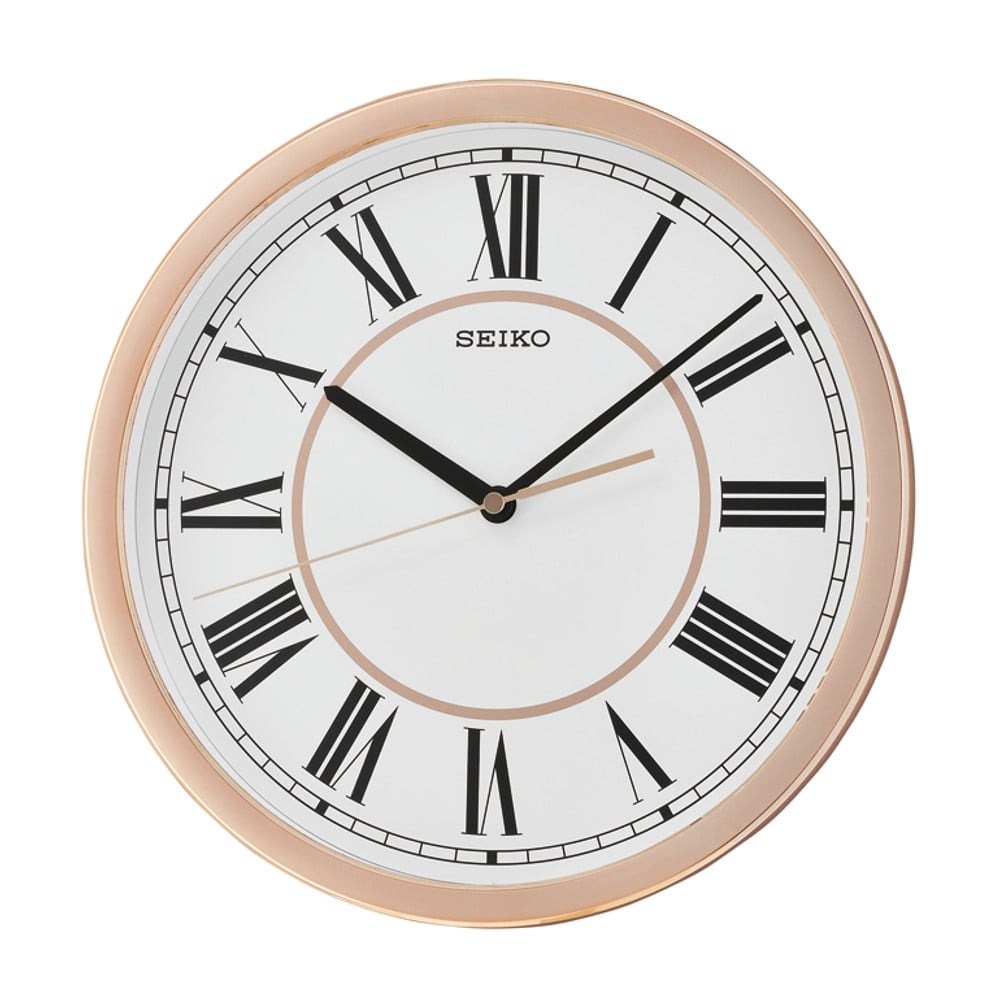 Details About Qxa665p New Seiko Wall Clock Roman Numeral Case Rose Gold