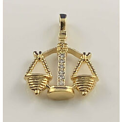 Ladies Libra Scales Zodiac CZ Pendant 24k Yellow Gold Plated Astrological Sign