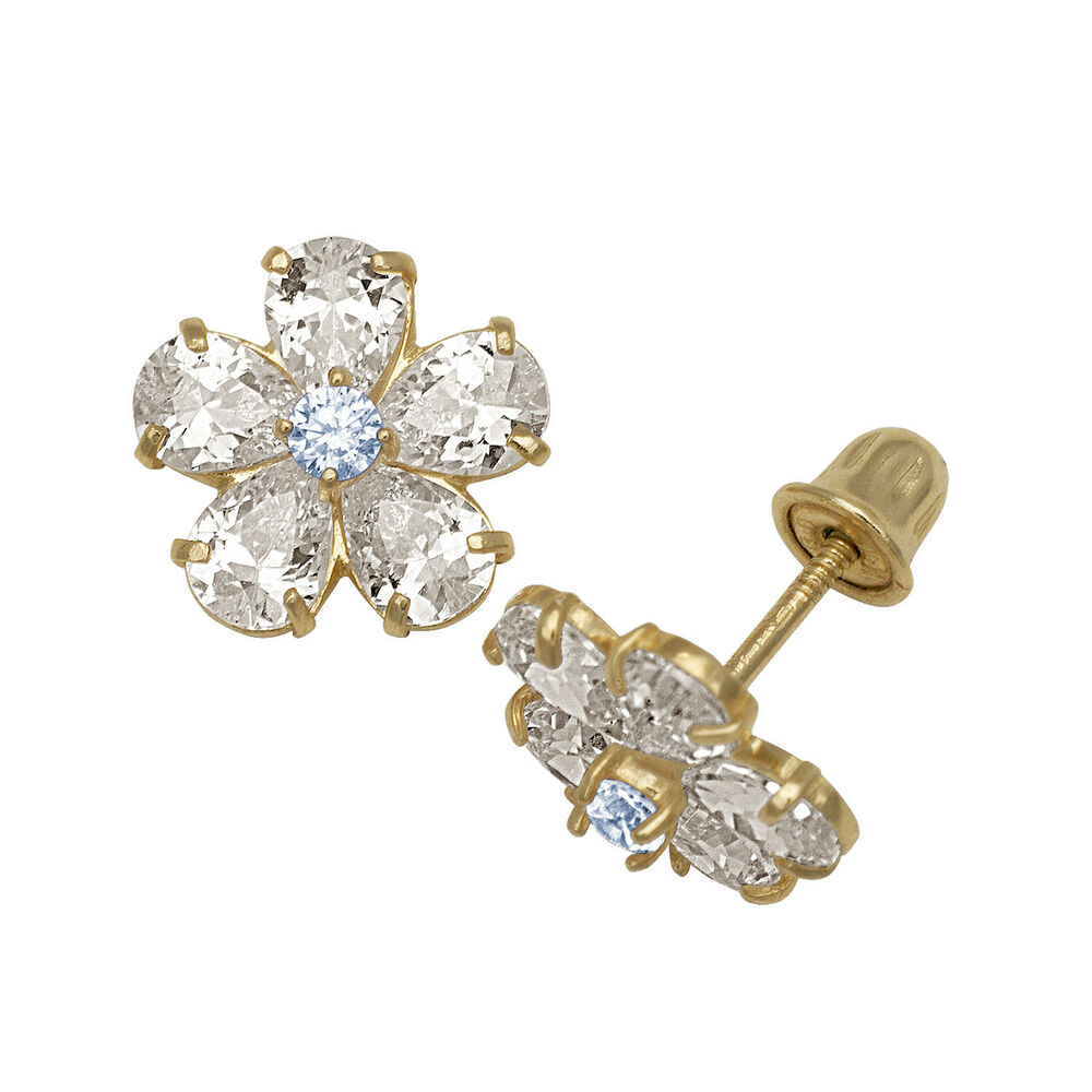 Details About Baby S Aquamarine Created Diamond Flower Stud Earrings 14k Yellow Gold