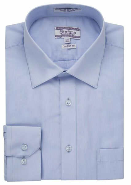 Stefano Men's Classic Fit Convertible Cuffs Solid Dress Shirt - Many Colors